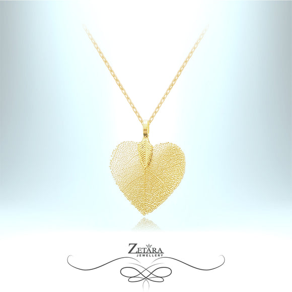 Flora Collection Cordate Leaf Necklace (S) - Gold