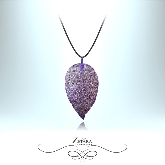 Flora Collection Aristate Leaf Necklace - Purple