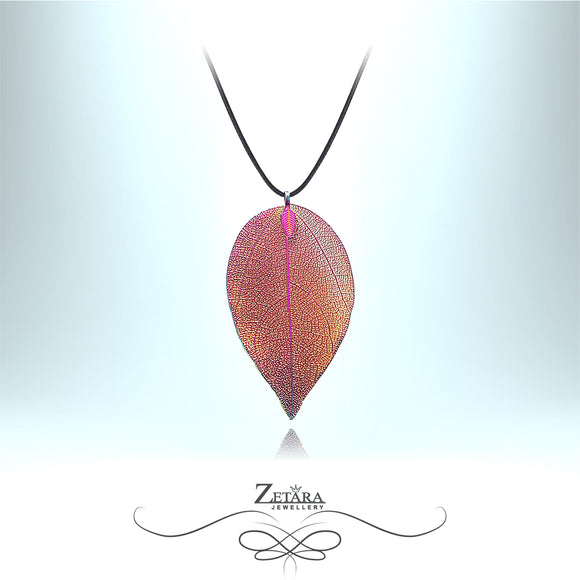 Flora Collection Peacock Leaf Necklace - Multi Colour Sheen