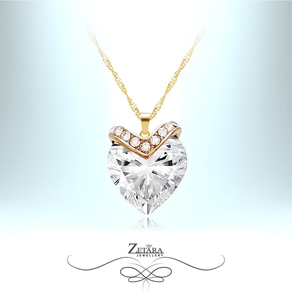 Nights in White Satin Crystal Heart Necklace