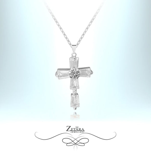 L'amour Czech Crystal Collection - San Sebastian Czech Crystal Cross-Silver Plated