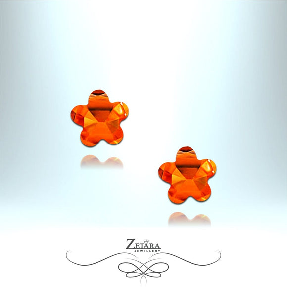 Orange Garnet Flower Earrings