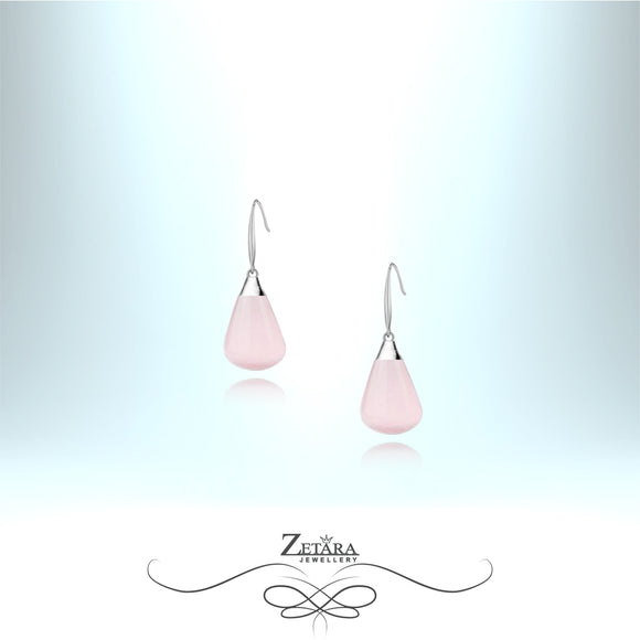 Rose Quartz Earrings (Silver) - Birthstone for January