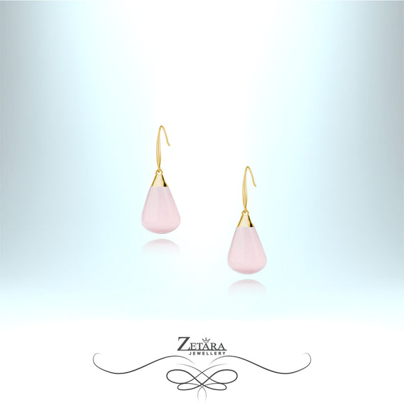 Rose Quartz Earrings (Gold) - Birthstone for January