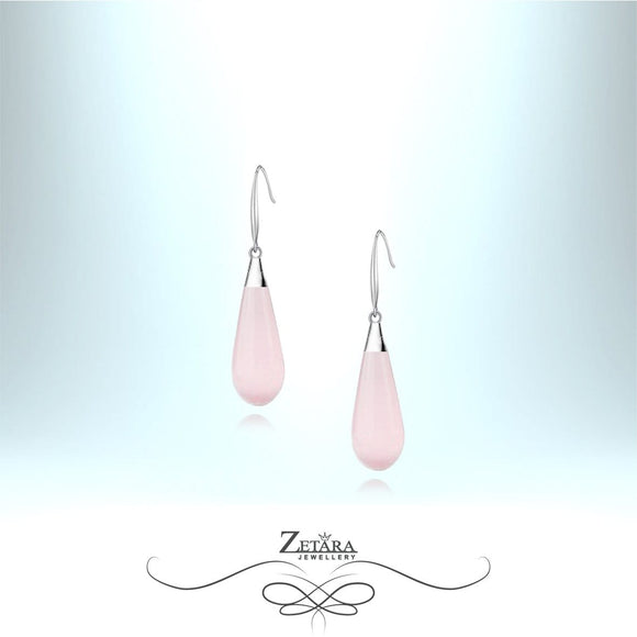 Natural Rose Quartz Earrings (Silver) - Birthstone for January
