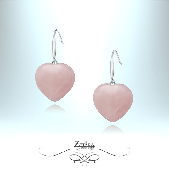 Rose Quartz Heart Earrings - Birthstone for January