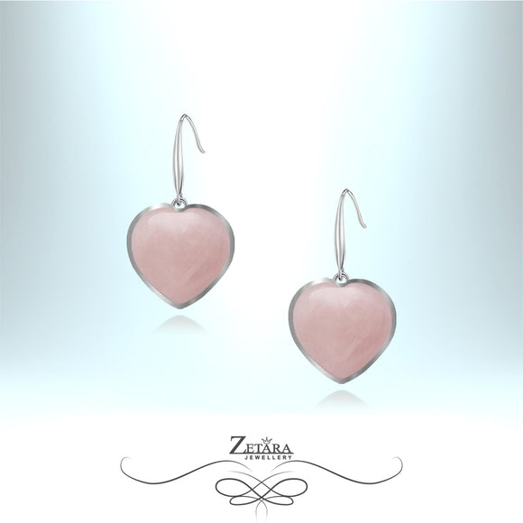 Rose Quartz Heart Earrings (Silver Frame) - Birthstone for January