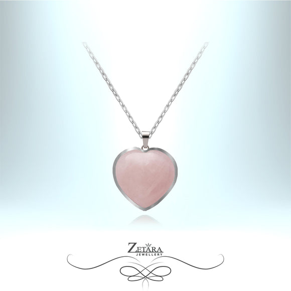 Rose Quartz Heart Necklace (Silver Frame) - Birthstone for January