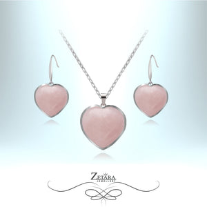 Rose Quartz Heart Set (Silver Frame) - Birthstone for January