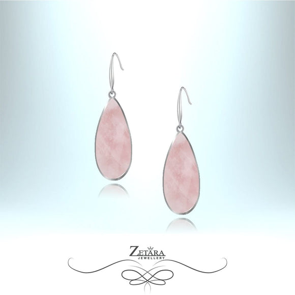 Natural Rose Quartz Earrings (Silver Frame) - Birthstone for January