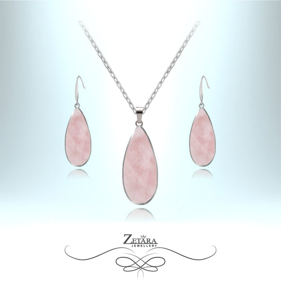 Rose Quartz Set (Silver Frame) - Birthstone for January