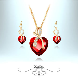 Ruby Heart Crystal Set