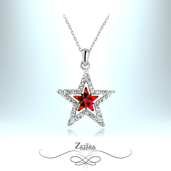 Merlin Crystal Star Necklace - Ruby