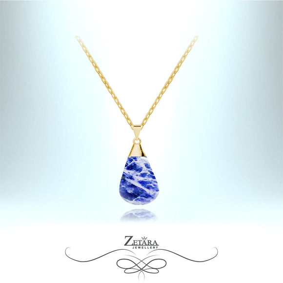 Natural Sodalite Stone Necklace (Gold) - Birthstone for November