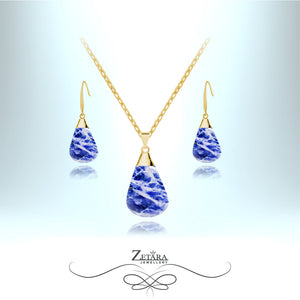 Natural Sodalite Stone Set (Gold) - Birthstone for November