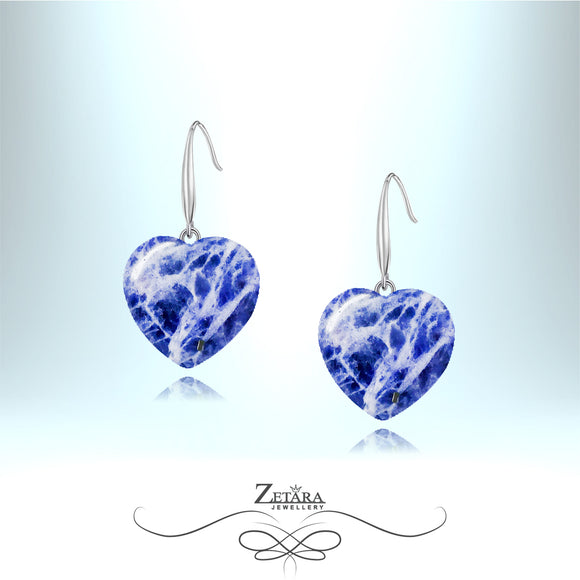Sodalite Heart Earrings - Birthstone for November