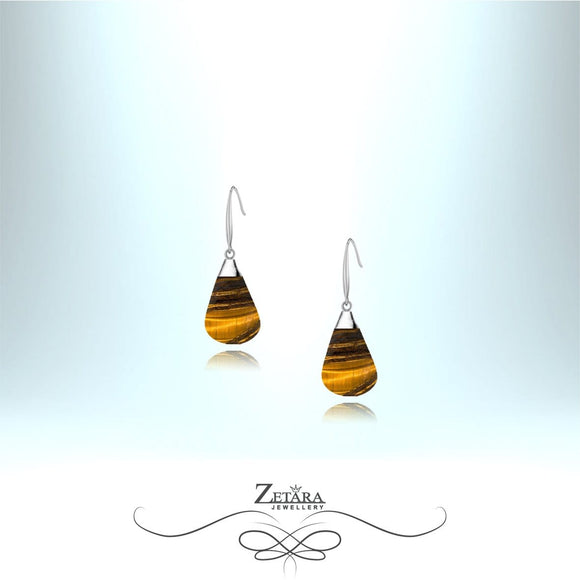 Tigers Eye Stone Earrings (Silver) - Birthstone for November