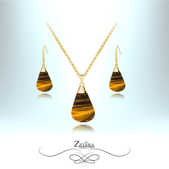 Tigers Eye Stone Set (Gold) - Birthstone for November