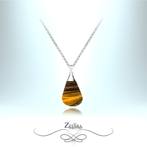 Tigers Eye Stone Necklace (Silver) - Birthstone for November