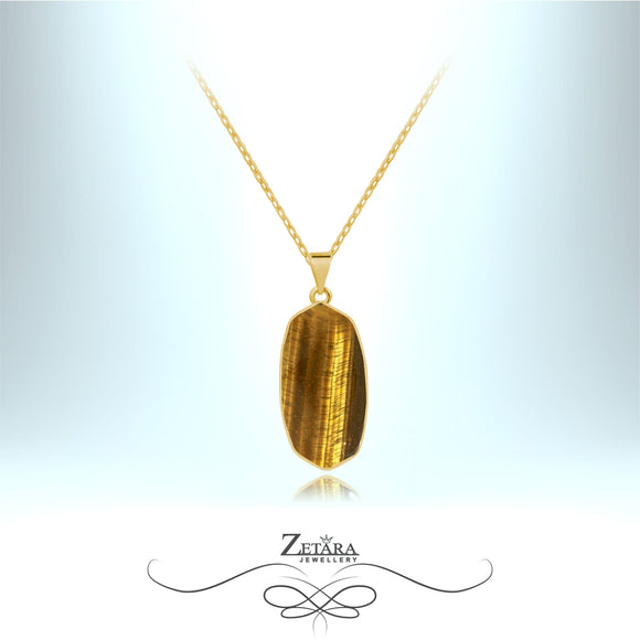 Tigers Eye Stone Necklace (Gold) - Birthstone for November