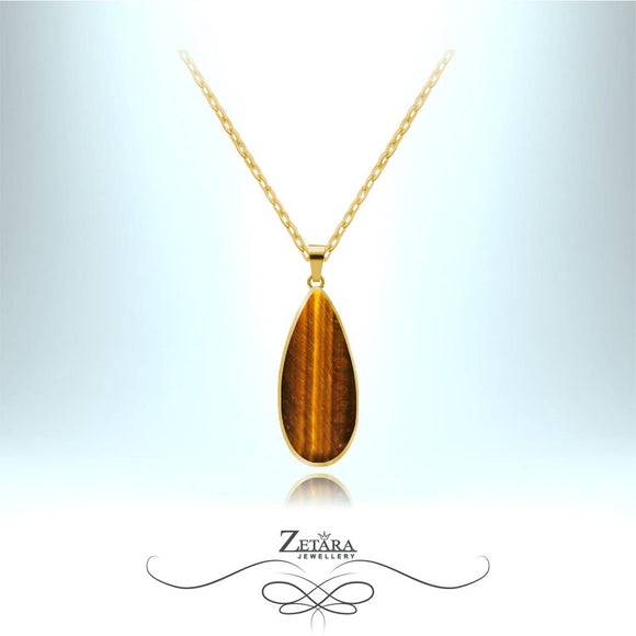 Tigers Eye Stone Necklace (Gold Frame) - Birthstone for November