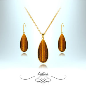 Tigers Eye Stone Set (Gold Frame) - Birthstone for November
