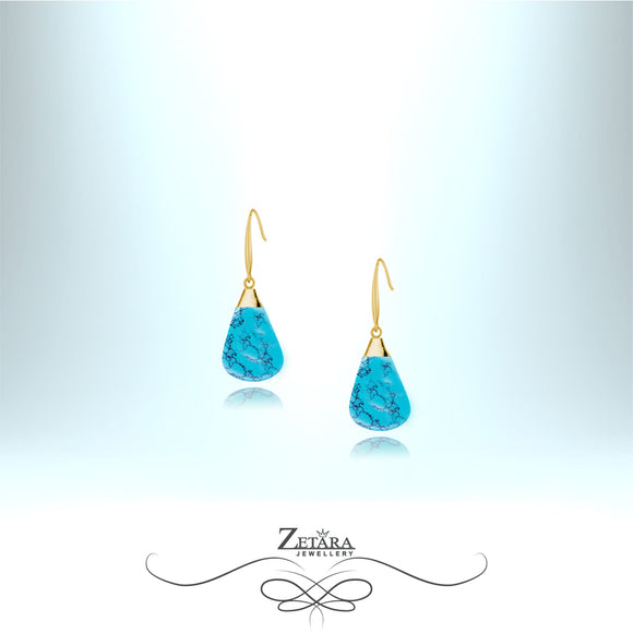 Natural Turquoise Stone Earrings (Gold) - Birthstone for December