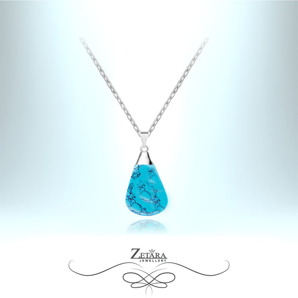 Natural Turquoise Stone Necklace (Silver) - Birthstone for December