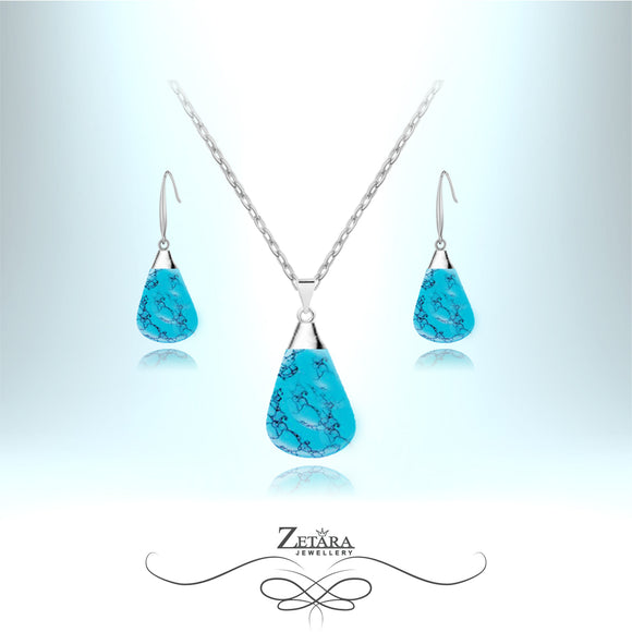 Natural Turquoise Stone Set (Silver) - Birthstone for December