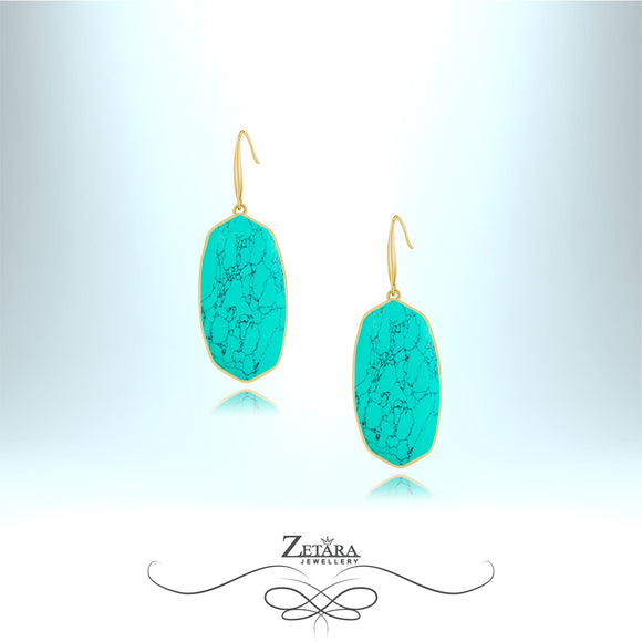 Natural Turquoise Stone Earrings (Silver) - Birthstone for December