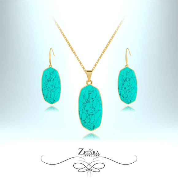 Natural Turquoise Stone Set (Gold) - Birthstone for December