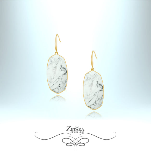 Natural White Howlite Earrings (Gold)