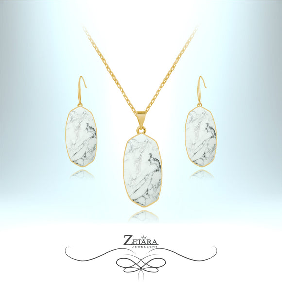 Natural White Howlite Set (Gold)