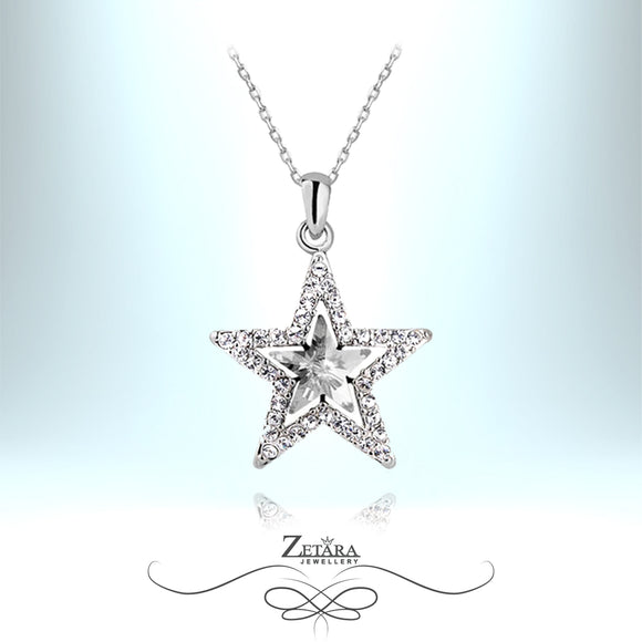 Merlin Crystal Star Necklace - Clear Crystal
