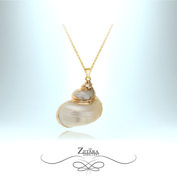 Ariel Collection - Natural Sea Shell Necklace - Gold Ornate