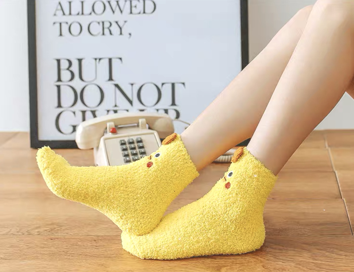 Yellow Chicken Socks in a Box