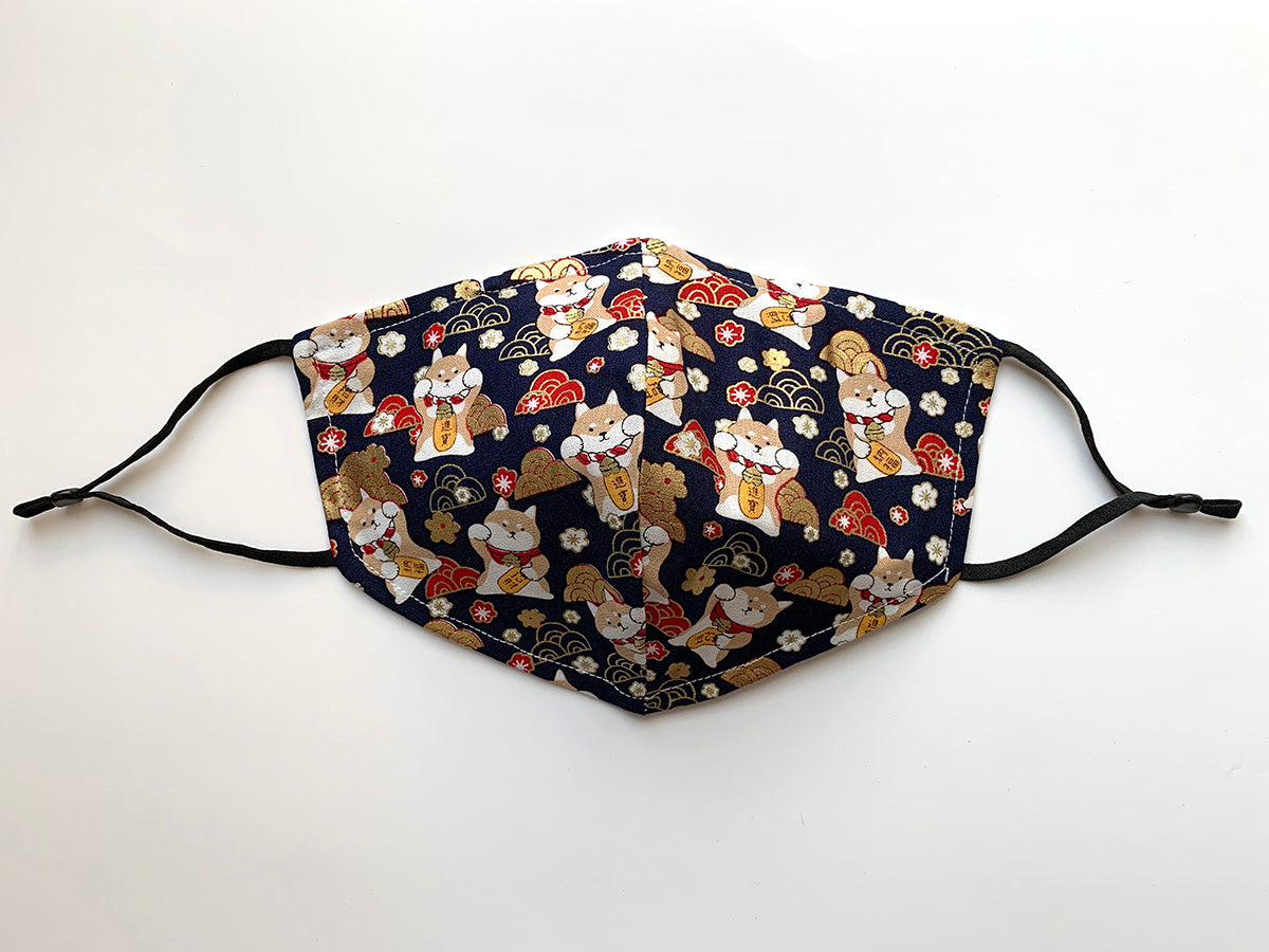 Japanese Fabric - Shiba Inu Dog Face mask