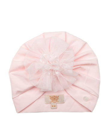 Tulle flower turban