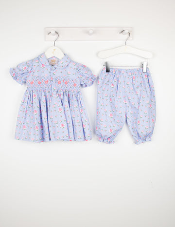 Hand-smocked dress and bloomer set