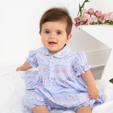 Hand-smocked baby bloomer set