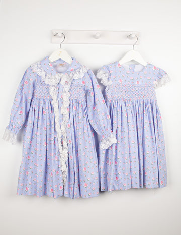 Floral hand-smocked nightie and dressing gown set