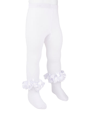 Ruffle ankle ribbon tights