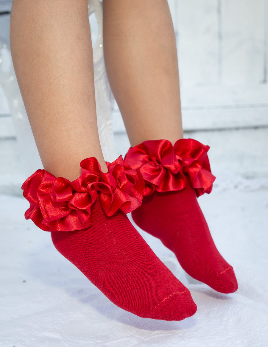 Ankle ruffle ribbon socks