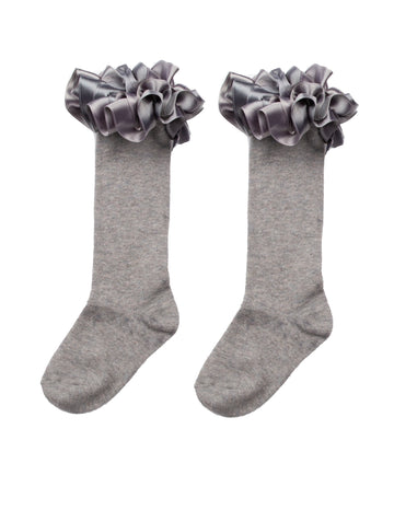 Ruffle ribbon knee length socks