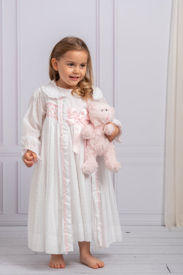 Hand-smocked swiss dot cotton dressing gown set