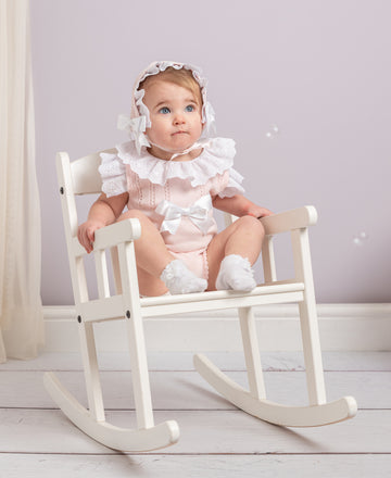 Knitted romper with bonnet set