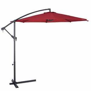 Giantex 10' Hanging Umbrella Patio Sun Shade Offset Outdoor Market W/T Cross Base Outdoor Furniture OP2808