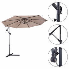 Load image into Gallery viewer, Giantex 10' Hanging Umbrella Patio Sun Shade Offset Outdoor Market W/T Cross Base Outdoor Furniture OP2808