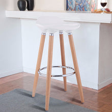 Load image into Gallery viewer, Set of 2 ABS Bar Stool Breakfast Barstool w/ Wooden Legs Kitchen Furniture White  HW52622WH