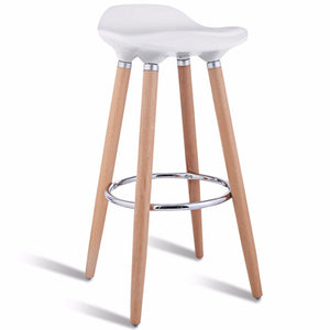 Set of 2 ABS Bar Stool Breakfast Barstool w/ Wooden Legs Kitchen Furniture White  HW52622WH